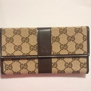 gucci gg pattern beige canvas leather wallet